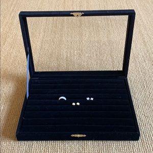 Black velvet display box for rings/earrings